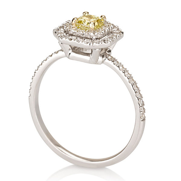 Fancy Vivid Yellow Diamond Ring, Radiant, 0.40 carat, VS2- C