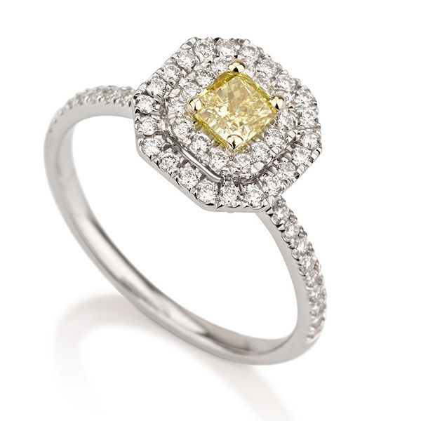 Radiant Double Halo Fancy Vivid Yellow Diamond Engagement Ring, 0.80 t.w, VS2 - B