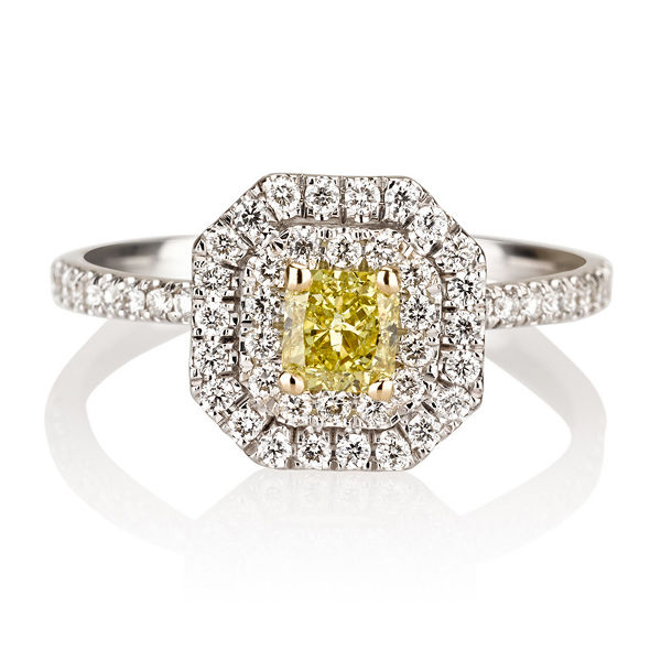 Radiant Double Halo Fancy Vivid Yellow Diamond Engagement Ring, 0.80 t.w, VS2