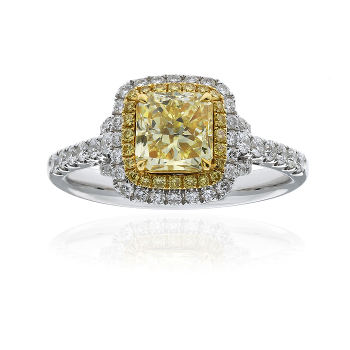 Double Halo Fancy Yellow Diamond Engagement Ring, 1.60 ctw