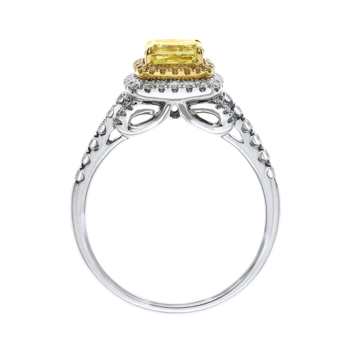 Fancy Yellow Diamond Ring, Radiant, 1.20 carat, SI2 - B