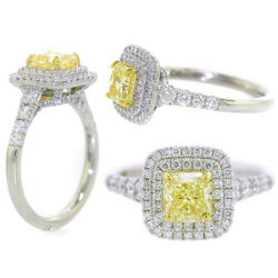 Double Halo Fancy Yellow Diamond Engagement Ring, 1.73 t.w