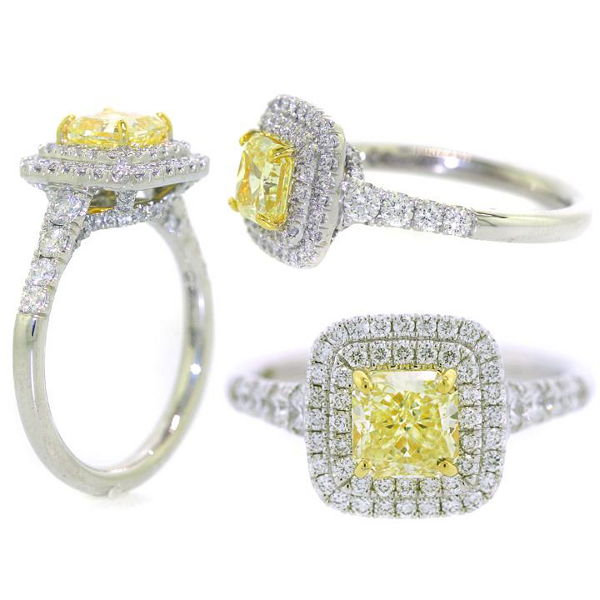 Radiant Double Halo Fancy Yellow Diamond Engagement Ring, 1.73 t.w, VS2