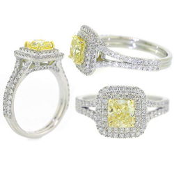Double Halo Fancy Yellow Diamond Engagement Ring, 1.84 t.w