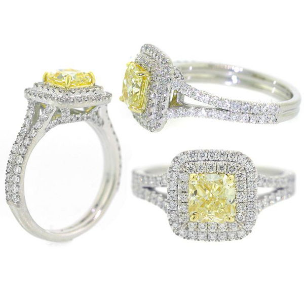 Radiant Double Halo Fancy Yellow Diamond Engagement Ring, 1.84 t.w, VS2