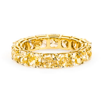 Eternity Band Fancy Yellow Diamond Engagement Ring, 7.21 ctw