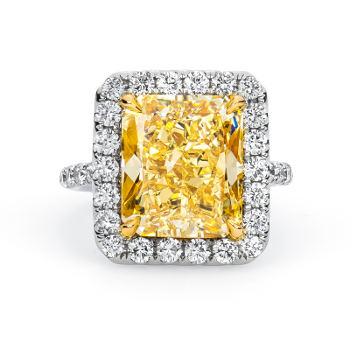 Fancy Light Yellow Diamond Ring, Radiant, 8.78 carat, SI2 - Thumbnail