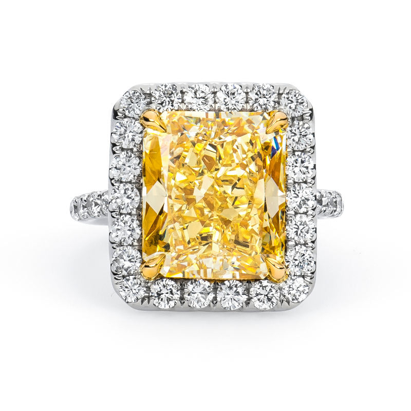 Fancy Light Yellow Diamond Ring, Radiant, 8.78 carat, SI2