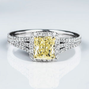 Halo Fancy Light Yellow Diamond Engagement Ring, 1.71 ctw