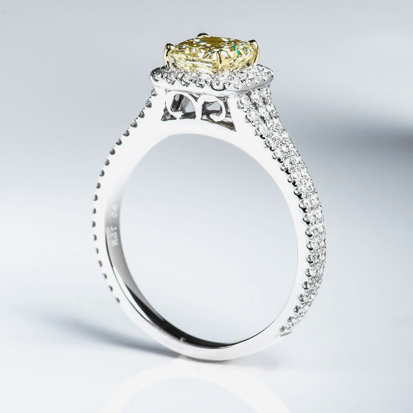 Radiant Halo Fancy Light Yellow Diamond Engagement Ring, 1.71 t.w ...