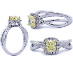 Halo Fancy Yellow Diamond Engagement Ring, 0.72 ctw