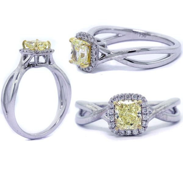 Radiant Halo Fancy Yellow Diamond Engagement Ring, 0.72 t.w, VS1