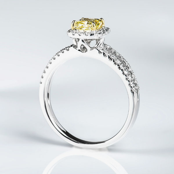 Radiant Halo Fancy Yellow Diamond Engagement Ring, 0.91 t.w, SI1 - B