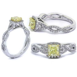 Halo Fancy Yellow Diamond Engagement Ring, 0.93 ctw