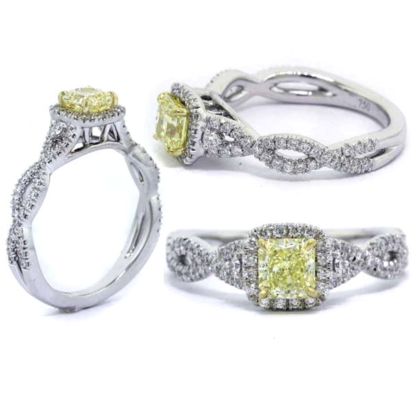 Radiant Halo Fancy Yellow Diamond Engagement Ring, 0.93 t.w, VVS2