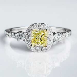 Halo Fancy Yellow Diamond Engagement Ring, 1.11 ctw