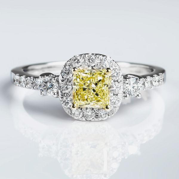 Fancy Yellow Diamond Ring, Radiant, 0.71 carat, VS1