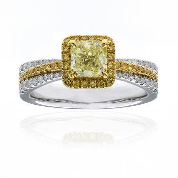 Fancy Yellow Diamond Ring, Radiant, 0.90 carat, VS2 - Thumbnail