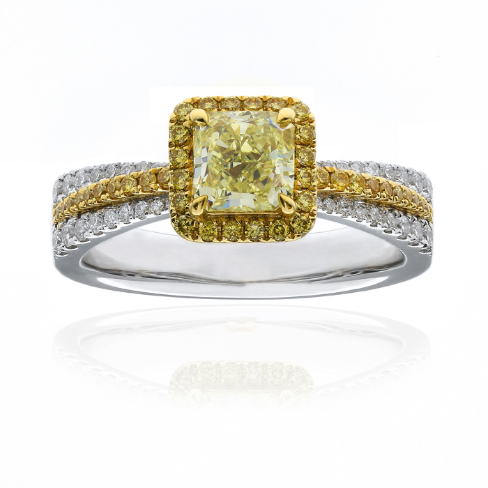 Fancy Yellow Diamond Ring, Radiant, 0.90 carat, VS2