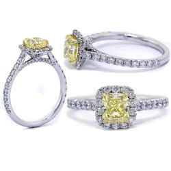Halo Fancy Yellow Diamond Engagement Ring, 1.35 t.w