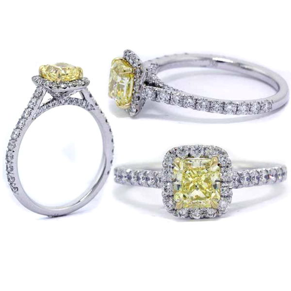 Radiant Halo Fancy Yellow Diamond Engagement Ring, 1.35 t.w, VVS1