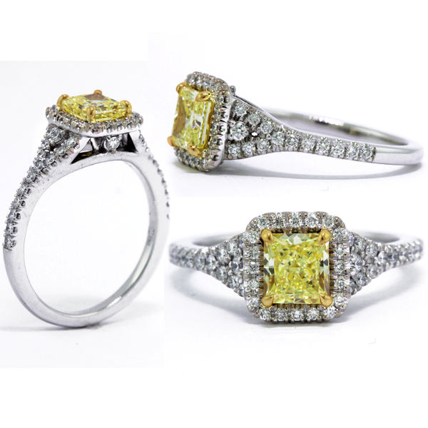 Radiant Halo Fancy Yellow Diamond Engagement Ring, 1.43 t.w, VS1