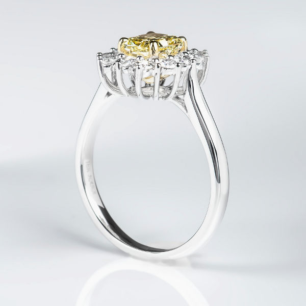 Radiant Halo Fancy Yellow Diamond Engagement Ring, 1.45 t.w, VS1 - B