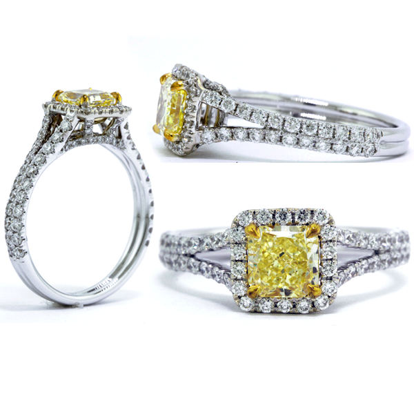 Radiant Halo Fancy Yellow Diamond Engagement Ring, 1.62 t.w, VS2