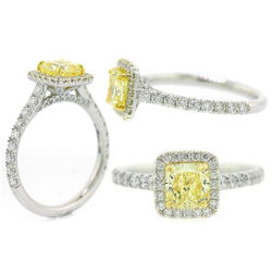 Halo Fancy Yellow Diamond Engagement Ring, 1.65 ctw