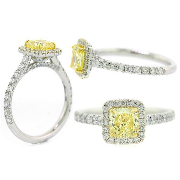 Radiant Halo Fancy Yellow Diamond Engagement Ring, 1.65 t.w, VS2