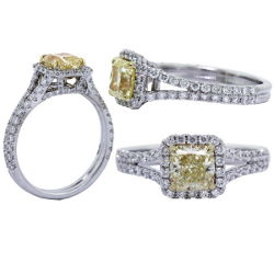 Halo Fancy Yellow Diamond Engagement Ring, 1.78 t.w