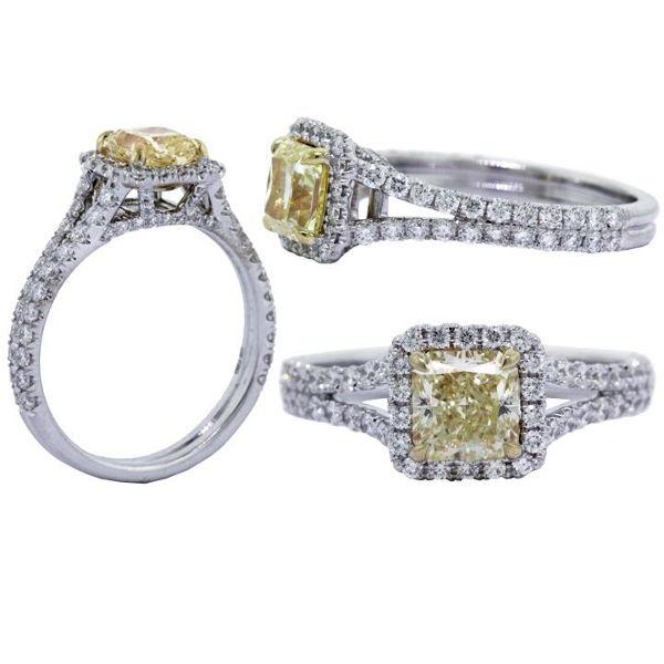 Radiant Halo Fancy Yellow Diamond Engagement Ring, 1.78 t.w, VS2
