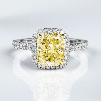 Halo Fancy Yellow Diamond Engagement Ring, 3.54 ctw