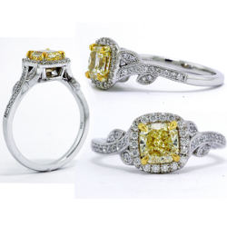 Vintage Fancy Yellow Diamond Engagement Ring, 1.15 ctw