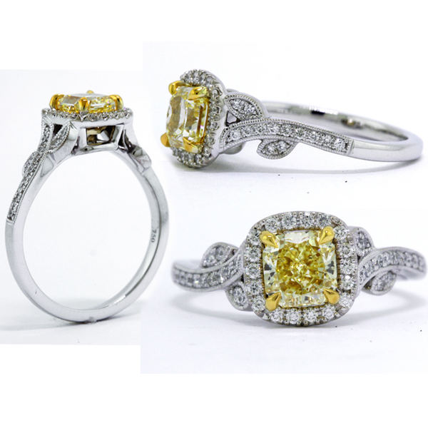 Radiant Vintage Fancy Yellow Diamond Engagement Ring, 1.15 t.w, VS2