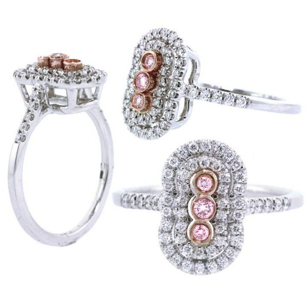 Round 3 Stone Argyle Pink Diamond Engagement Ring, 0.34 t.w, SI1