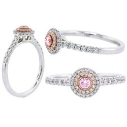 Double Halo Argyle Pink Diamond Engagement Ring, 0.36 t.w