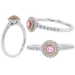 Double Halo Argyle Pink Diamond Engagement Ring, 0.36 t.w