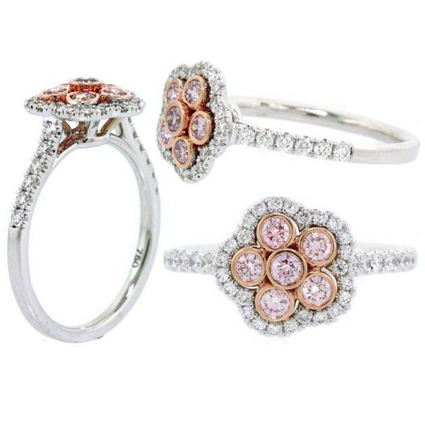 Round Halo Argyle Pink Diamond Engagement Ring, 0.65 t.w, SI1