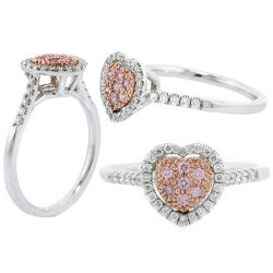 Halo Argyle Purplish Pink Diamond Engagement Ring, 0.29 ctw