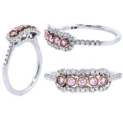 Halo Argyle Purplish Pink Diamond Engagement Ring, 0.36 t.w