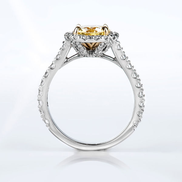 Round Halo Fancy Intense Yellow Diamond Engagement Ring, 2.14 t.w, VVS2 - B