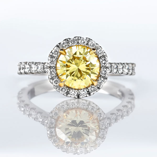 Halo Fancy Intense Yellow Diamond Engagement Ring, 2.14 tcw