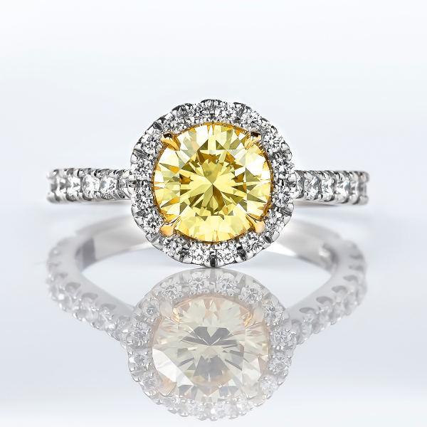 Halo Fancy Intense Yellow Diamond Engagement Ring 2 14 Ctw