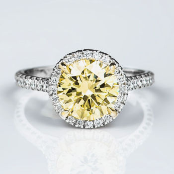 Merveilleux Halo Fancy Light Yellow Diamond Engagement Ring, 2.52 Ctw