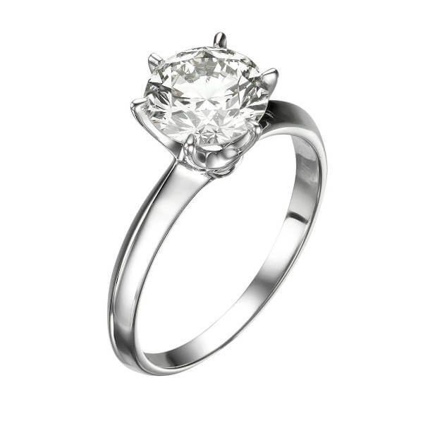 six prongs 2 carat solitaire diamond ring