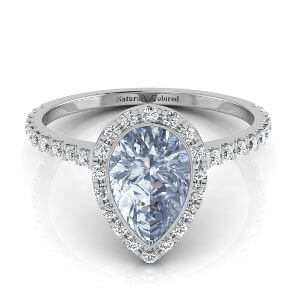 Bezel Setting Halo Pear Shape Blue Diamond Engagement Ring