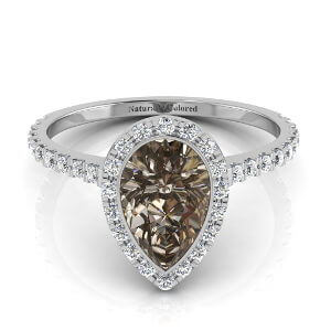 Bezel Setting Halo Pear Shape Brown Diamond Engagement Ring