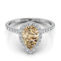 Bezel Setting Halo Pear Shape Champagne Diamond Engagement Ring