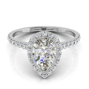 Bezel Setting Halo Pear Shape Gray Diamond Engagement Ring